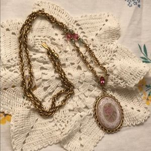 1928 Long Faux Embroidered Pendant Necklace